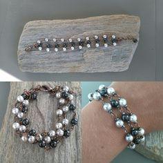 Drie rijen koperen armband gemaakt met glasparels  www.facebook.nl/kikakoscreaties