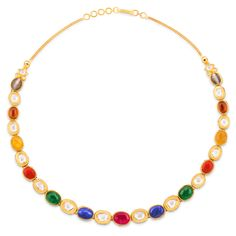 Intricate gold necklace set with multicolored precious gems and enamel detailing on reverse. Bridal Necklace, Necklace Set, Beaded Necklace, 24k Gold Chain, Gold Circle Necklace, Gold Locket, Sell Gold, Necklace Online, Necklace Designs