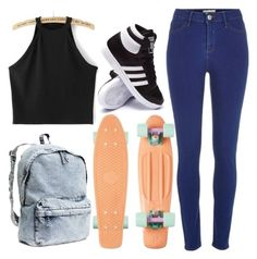 """""""Penny Boarding"""" by lilyayresrose ❤ liked on Polyvore featuring River Island, adidas, H&M, tumblr, pennyboard and lilyrose"""