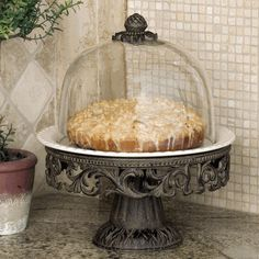 GG Collection Gracious Goods Bronze Cake Pedestal With Cream Ceramic Plate Tiered Cake Stands, Tiered Stand, Tiered Cakes, Glass Beverage Dispenser, Short Glass, Cake Platter, Pedestal Cake Stand, Plate Holder, Old World Style