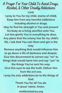 A Prayer For Your Child To Avoid Drugs, Alcohol, & Other Deadly Addictions