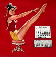May 1956 vintage calendar girl pin-up by Ernest Chiriaka.