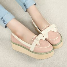 Thick-soled platform shoes bow Japanese casual shoes [SGX130421112]