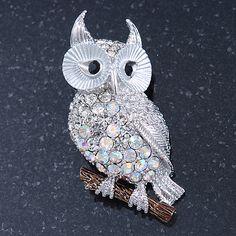 Clear, AB Swarovski Crystal Owl Brooch/ Pendant In Rhodium Plating - 40mm Length - main view