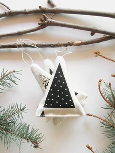 Balsam Fir Sachet Tree Ornaments are hand sewn using recycled materials