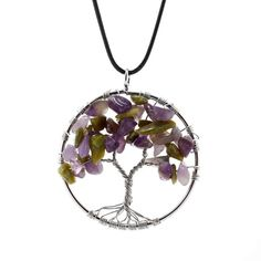 Tree of Life Natural Stones Pendant Necklace