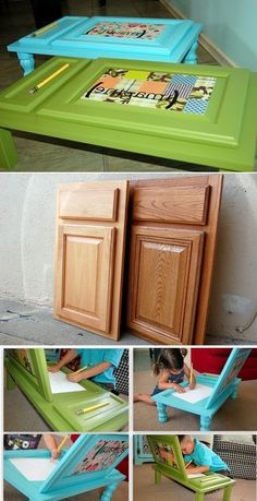 DIY children desk from a cupboard door