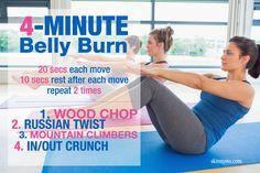 4 Minute Belly Burn--a flat belly is always in season! #flatbelly #bellyburn #fitness