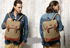 Rucksack for Men Size: 39*30*13 cm Canvas and leather.