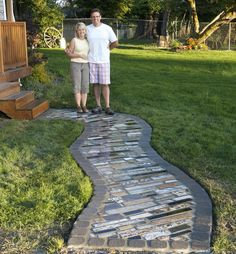 Made from scrap granite and pavers. Brilliant.
