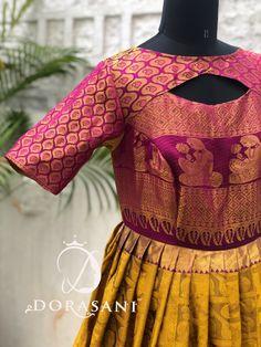 Pattu Saree Blouse Designs, Saree Blouse Patterns, Blouse Neck Designs, Lehenga Gown, Saree Dress, Anarkali, Girls Frock Design, Long Dress Design, Indian Long Frocks