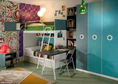 Aire 17 . Dormitorio juvenil con litera, estantería, escritorio y armario de tres puertas batientes