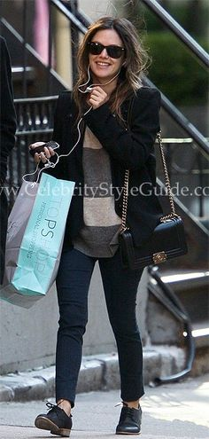Rachel Bilson is all smiles in the Vince Rugby Striped Crew Neck Sweater on walk on Wednesday in New York City October 5, 2011