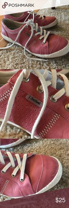 Josef Seibel Pink Leather Tennies Pretty pink tennis shoes made of leather. Comfortable and only worn once. In excellent shape minus some minor scuff marks which could probably be made to look much better with some leather cleaner and conditioner. They just didn't match the outfit I intended them for. Fun and stylish. Josef Seibel Shoes