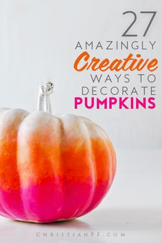 Need some #pumpkin-decorating ideas? Here are 27 super creative ways to decorate pumpkins without carving the same jack-o-lanterns out of your pumpkins. Enjoy!