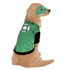 Green Lantern Dog Costume will help your dog save the day! - Green shirt with green lantern symbol on back - Mask included - Made of polyester Why We Love It: Your super hero dog will save the world i
