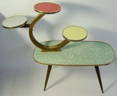 Atomic Age Midcentury multicolour plant stand display table coffee table