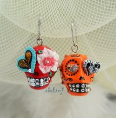 Skull in a-day is the day of the dead earrings stone Punk Earrings, Skull Earrings, Diy Earrings, Stone Earrings, Earrings Handmade, Halloween Earrings, Halloween Jewelry, Bead Jewellery, Beaded Jewelry