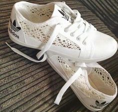 Shoes: white, adidas, lace, hollow out, ladies, adidas shoes - Wheretoget