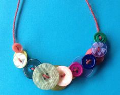 Button Wool Yarn Unique Statement Necklace Multicoloured Jewelry Bright Funky Jewellery