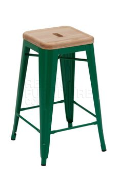 Replica Xavier Pauchard Stool Green - Wood Top 66cm -- This durable Xavier Pauchard bar stool with wood top is based on the original design by Pauchard, which was first released to the French market in 1934.   These Xavier Pauchard bar stools have a seat height of 66cm so are perfect for use around your island bench or kitchen bench.    Our Replica Xavier Pauchard stools are tough and built to last. Our counter stools are expertly crafted and made from galvanised metal with an ash wood seat…