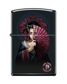 "Zippo ""Anne Stokes-Geisha Girl With Fan"" Black Matte Lighter…"