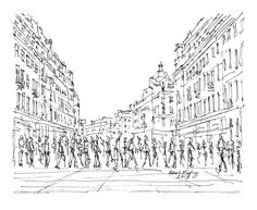 Oxford Street London - Drawing,  22x18  ©2017 by Brian Keating -                                                                                                                                                            Illustration, Impressionism, Minimalism, Modernism, Paper, Architecture, Black and White, Cities, Cityscape, People, Places, uk drawings, uk art, london streets drawings, oxford circus drawings, uk cities drawings, oxford street drawings