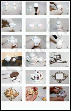 como hacer un set para el te en porcelana fria