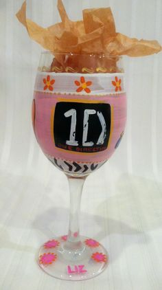 celebrate the tunes of your fave band with our hand-painted wine glass, glassware may be personalized with name or monogram  #wineglass #birthday  $28