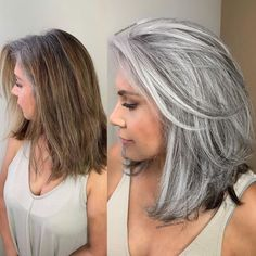 Hairstyles Transitioning to Gray Hair 101 NEW Ways to Go Gray in 2020 Hair Adviser Hair color Adviser Gray Gray hair Hair Hairstyles Transitioning Ways Grey Hair Care, Long Gray Hair, Silver Grey Hair, Grey Hair With Black, White Hair, Brown Hair Going Grey, Curly Gray Hair, Medium Hair Styles, Curly Hair Styles
