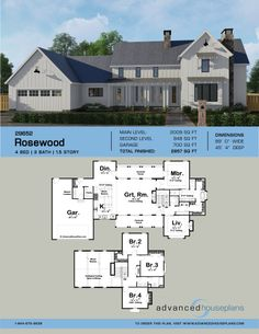 55 best 1 1 2 Story House Plans images on Pinterest in 2018   2     1 5 Story Modern Farmhouse Plan   Rosewood