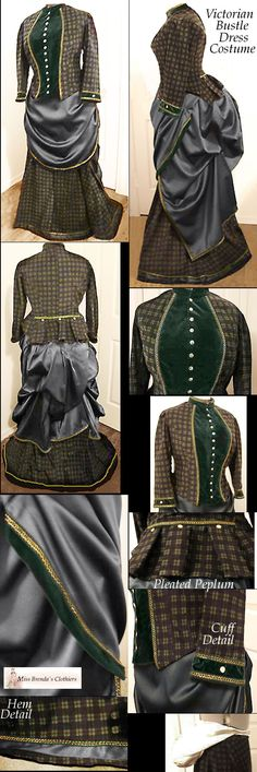 1886 Victorian Bustle dress costume reproduction with VELVET and plaid