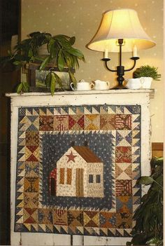 Primitive Folk Art Quilt Pattern: THIS OLD FARMHOUSE (Wall Quilt). $8.50, via Etsy.