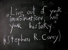 """Live out of your imagination, not your history.""..Stephen Covey   quote."