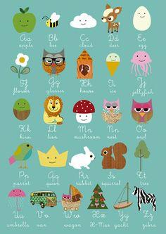 Learn abc with cute animals. Lernposter ABC mit Tieren für Kinder
