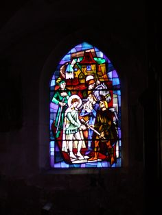The stained glass window inside the church of Jeanne