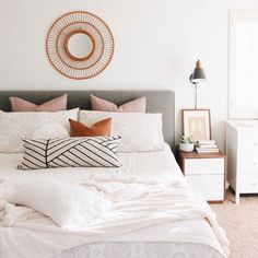 Shop The Printed Home's minimalistic chic master bedroom details and more – Most Beautiful Furniture Chic Master Bedroom, Modern Bedroom Decor, Gray Bedroom, Home Bedroom, Bedroom Furniture, Bedroom Ideas, Bedroom Inspiration, Contemporary Bedroom, Bedroom Designs
