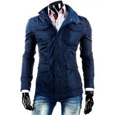 Prodloužená tmavě modrá pánská přechodná bunda s kapsami - manozo.cz Motorcycle Jacket, Mens Fashion, Casual, Jackets, Moda Masculina, Fashion For Men, Men's Fashion, Men's Apparel, Men's Fashion Styles
