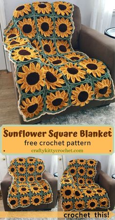 Sunflower Square Blanket Crochet Pattern – Crafty Kitty Crochet Plant a whole field of lovely crocheted sunflowers without even having to leave your favorite comfy chair! This FREE sunflower blanket / afghan pattern has. Crochet Afghans, Motifs Afghans, Crochet Motifs, Afghan Crochet Patterns, Crochet Squares, Crochet Baby, Free Crochet, Knit Crochet, Granny Squares