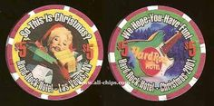 #LasVegasCasinoChip of the day is a $5 Hard Rock Christmas 2001 you can get here https://www.all-chips.com/ChipDetail.php?ChipID=5656 #CasinoChip #LasVegas #Christmas