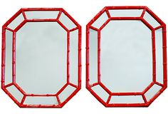 Red Faux-Bamboo Mirrors