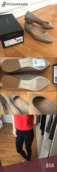"⭐️ NWB Tahari Elvie Flats, Taupe Leather Size 6.5 Brand new, never worn. Slightly too small for me! Made of leather, and feature a glimmering metallic detail on the heel. Only flaw is slightly worn down ""TAHARI"" logo on the sole and small scuff marks inside the shoe, likely because people tried on the shoes at the store. There are no visible scuff marks on the outside. Tahari Shoes Flats & Loafers"