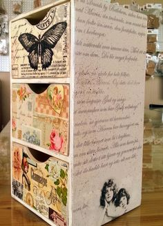 favorite home to visit Painted Boxes, Wooden Boxes, Frozen Crafts, Pastel Home Decor, Foto Transfer, Sewing Room Organization, Upcycled Home Decor, Altered Boxes, Diy Box