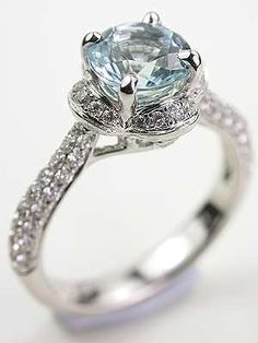 Antique Style Aquamarine Engagement Ring, favorite