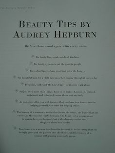 """True beauty Hepburn style - check out a book called """"How to be a Hepburn in a Hilton world"""" by Jordan Christy"""