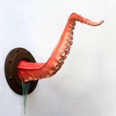 Steampunk Tentacle Art, Octopus Arm Sculpture, Faux Taxidermy, Nautical Decor. $375.00, via Etsy.