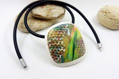 Polymer Clay Pendant - Unique Handmade Necklace in Green and White Colors, sanded and buffed! by SweetyBijou on Etsy