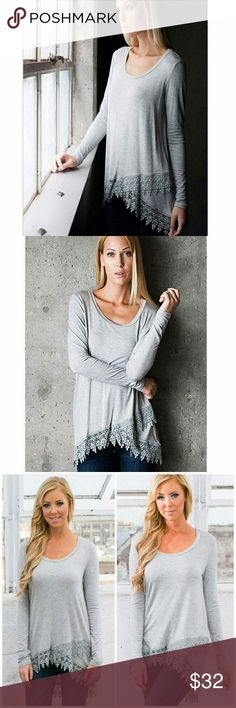 """Long sleeve crochet trim tunic Asimetric,  fits any body tipe, longer on the back,  beautiful gray color, dress it up with amazing leather leggings, down with jeans or shorts, sky is the limit with this piece, a beautiful neutral and basic color. The size is small but runs loose so it can fit a medium perfectly.  Bust : armpit to armpit 19"""" Length on the back 31 Length on the top 21"""" Tops Tunics"""