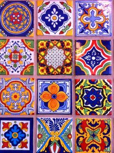 Suite F- color story- art inspiration Mexican tiles talavera style! We have tile similar to this available at a low cost Mexican Folk Art, Mexican Style, Mexican Garden, Tile Art, Mosaic Tiles, Pool Tiles, Backsplash Tile, Tiling, Talavera Pottery