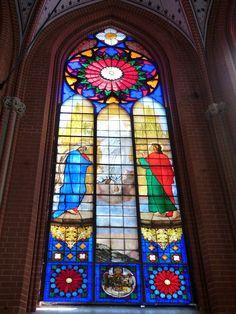 Peter von Cornelius, Schweriner Dom ( Mecklenburg ). Buntglasfenster ( 1847 ) mit Himmelfahrt Christi. ausgeführt von Ernst Gillmeister.